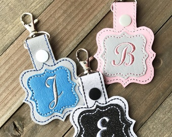 Initial keychain, Personalized Keychain, Monogram Keyfob, Keychain with Initials --- 55 Colors!