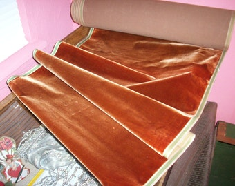 """Antique Victorian French Silk Velvet 18"""" wide Yardage Crushed Sienna Milinery Rare"""