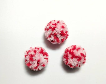 Valentines Pom Pom Balls, Cat Toys, Cat Balls, Optional Catnip, Valerian, Bell