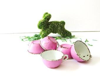 Antique Tin Tea Cups, Set of 5  Pink Tin Toy Tea Cups, Play Kitchen Toy Dishes, Tea Set