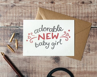 Adorable New Baby Girl Letterpress Greetings Card