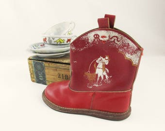 Just ONE Red Boot - 'But, what a great boot!' - 1940s-50s Display Piece - Vintage Red Cowboy Boot - Child Size Boot - Cowboy on Horse