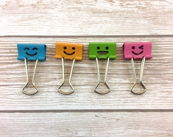 Set of 4 Binder Clips // Faces // #017