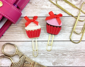 Set of 2 Red Cupcake Felt Planner Clips with Bow // #027