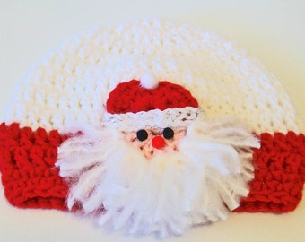 Adorable Christmas Santa Claus Face Crocheted Baby and Childrens Hat Great Photo Prop 5 Sizes Available