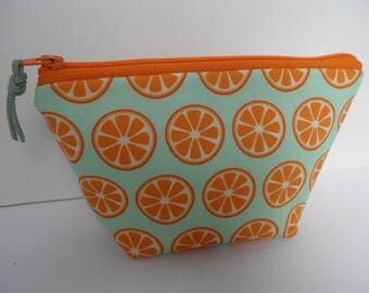 Small essential oil zipper pouch,  young living, doterra, edens garden, oil organizer, travel oil bag, orange wedges on mint