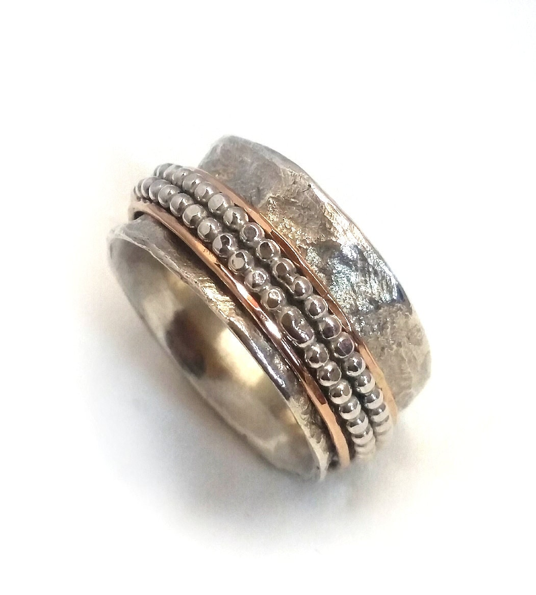 textured spinning wedding ring wide rotating ring with two