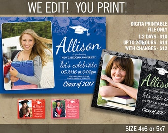 Graduation Invitation, Graduation Announcement, Graduation Party Invitation, Digital Files to Print, DIY