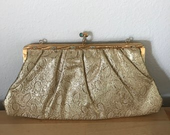 Gold Brocade Clutch with Blue Stones
