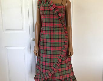 Nina Raynor Plaid Silk Dress Cocktail Formal 1980s Party Gown Size 6