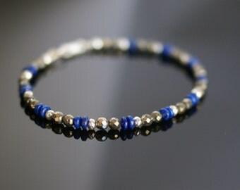 Lapis bracelet, Pyrite bracelet, Hill tribe silver bracelet, multi gemstone bracelet, Lapis jewelry gift, Blue bracelet, earthy bracelet
