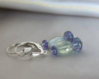 Prehnite earrings, Tanzanite earrings, Prehnite jewelry gift, Tanzanite jewelry, Summer earrings, green earrings, silver lever back wires
