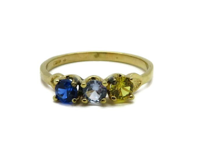 Three Stone Gold Plated Ring, Vintage Blue and Yellow Ring, Faux Topaz, Size 6.5