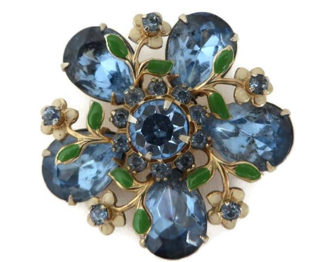 Blue Rhinestone Flower Brooch, Vintage Faux Jade Leaf Designer Runway Estate Jewelry Gift Idea