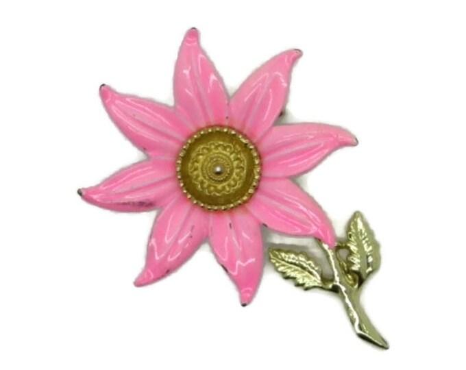 Hot Pink Enamel Flower Brooch Vintage Estate Costume Jewelry Floral Pin