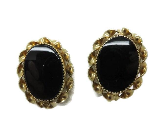 Black Onyx Gold Filled Earrings Vintage 1/20 12K GF Faux Onyx Screw Back Earrings