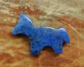 Blue Lapis Lazuli Medium Horse Cabochon/ backed/ with fools gold matrix/