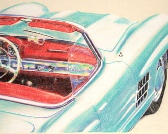 Original, one-off drawing of a Mercedes Benz 300SL Roadster