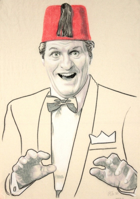 Original hand drawn portrait of Tommy Cooper, in charcoal and pastel on calico