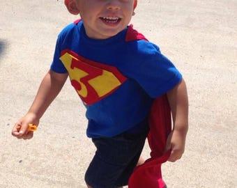Superhero Birthday Shirt With Cape