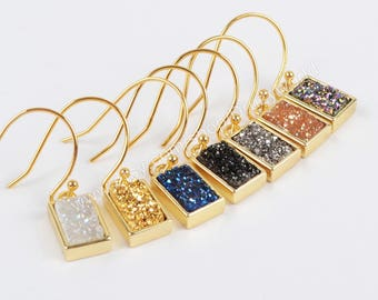 Wholesale Pretty Gold Plated Rectangle Rainbow Natural Titanium Agate Druzy Earrings Sparkly Drusy Crystals Geode Jewelry Earring ZG0161