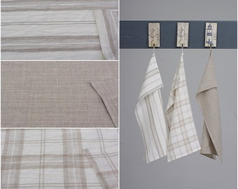 Wholesale 10 x Linen Tea Towels Natural / Striped / Checked / Plain / New Spring Collection