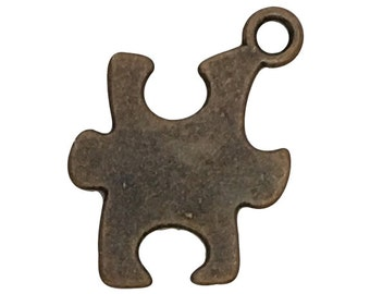 12 Bronze Puzzle Piece Charm Autism Awareness Pendant 18x15mm by TIJC SP1405