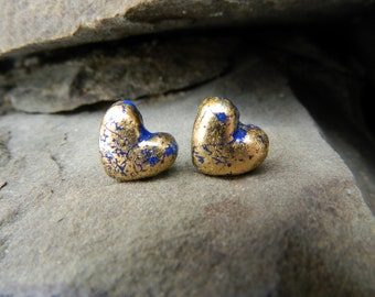Royal Blue Gold Leaf Heart Stud Earrings - Polymer Clay Jewelry
