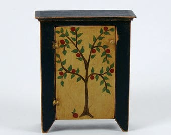 Vintage Dollhouse Jelly Cupboard Cabinet Paint Decorated Miniature Furniture