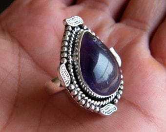 Natural Amethyst Ring, Silver Plated Ring, Silver Brass Ring, Birthday Gift, Designer Ring, Gift For Her, Ring size-7.25 SH-2026