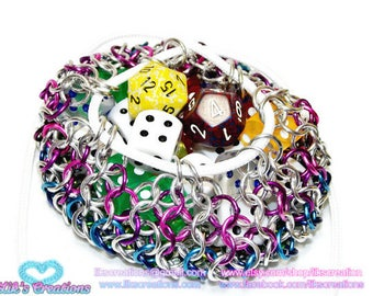 Medium rainbow striped dice bag - holds up to 4 sets - Artisan Chainmaille