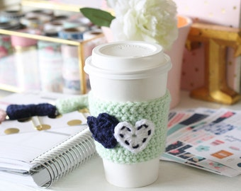 Crochet Coffee Tea Cozy Sleeve | Double Heart