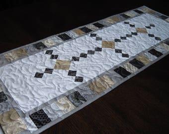 Black Diamonds Quilted Table Runner - elegant  black, tan, gray and white table runner/neutrals runner