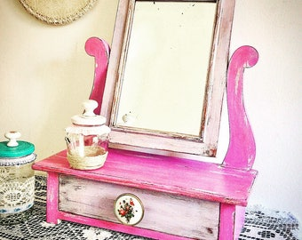 Mirror mirror shabby chic shabby restyle-40 years upcycled psyche-Lavender Rose