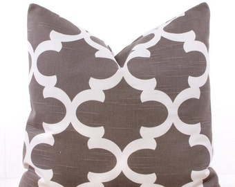 SALE ENDS SOON Trellis Brown Throw Pillow Cover, Pillows, Lattice, Soft Pillows, Cushion Covers, Toss Pillow, 20 x 20""