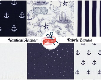 NAUTICAL ANCHORS Fabric Bundle Fabric by the Yard Fat Quarter Fabric Navy Blue & White Map Fabric Quilt Fabric 100% Cotton Apparel Fabric