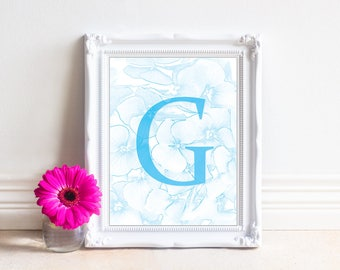 Alphabet Letters Printable, Letter G, Printable Monogram, Monogram Letters,Digital Letters, Digital Initial, INSTANT DOWNLOAD Printable Art