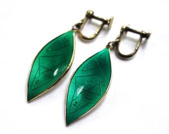 Oystein Balle Earrings Green Guilloche Enamel Leaf Vermeil Sterling Screw Back Mid Century Norway