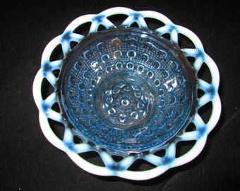 Kathy Lace Blue Opalescent Bowl