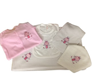 Embroidered Baby Layette Set Blanket Bib Face Cloth Burp Cloth and Sleep-Suit 0-3 Months