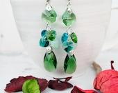 Long Emerald Green Swarovski EarringsLong Evening Statement Crystal EarringsSwarovski Crystal JewelleryLong Dangle Green Silver Earrings