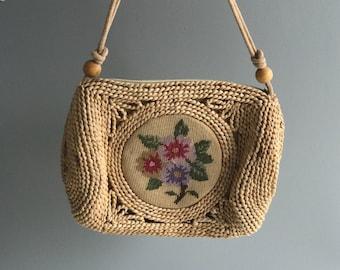 Vintage Jute and Needlework Bag