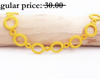 SALE Yellow necklace - Crochet statement necklace Fiber art jewelry Crochet jewelry Yellow jewelry Metal free Circle necklace Gift for her