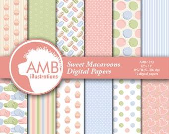 Macaroons Digital Papers, Sweet bakery Digital Papers, Cookie Papers, Pastel Bakery papers, Commercial Use, Scrapbook, Backgrounds, AMB-1572