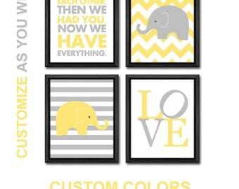 elephant baby shower decor, elephant baby nursery decor, elephants for nursery with baby quotes, elephant nursery art, elephant baby art