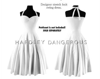 Couture Pinup White Cherrybomb Halter Wedding Dress by HARDLEY DANGEROUS, 1950s Rockabilly Bridesmaid Swing Wedding Dress