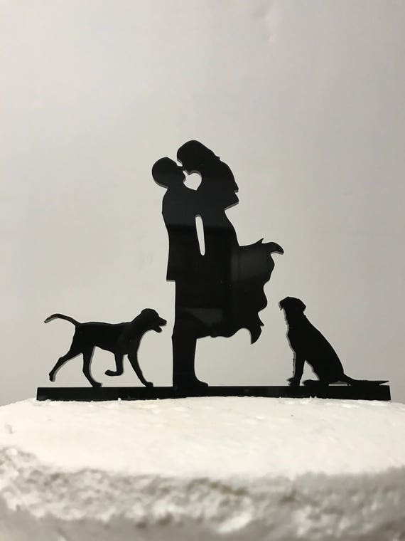 wedding cake topper silhouette with dogs kissng with dogs silhouette wedding cake topper 17 26501