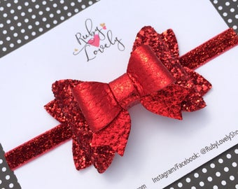 Red Hair Bows, Red Glitter Bow, 4th July Bow, Baby Red Headband, Red Glitter Clip, Red Sparkle Bow, Summer Bow, Patriotic bows, Unique Bows