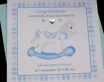 Personalised New baby Boy Rocking Horse Handmade Card