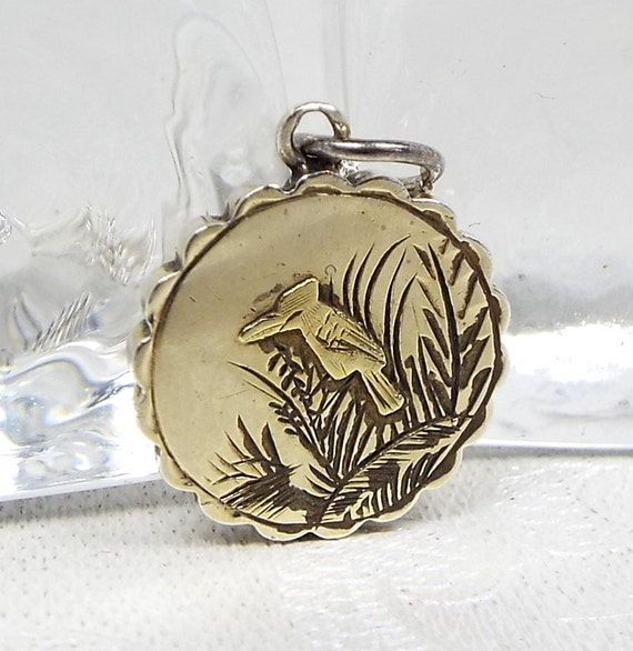 Antique / Victorian Sterling Silver Aesthetic Kookaburra Bird Pendant Necklace